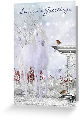 Unicorn Holiday Card Winter Scenery With Robins by Moonlake