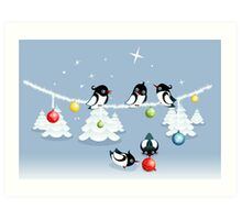Funny Xmas Card - Birds and Bubbles in Snow Art Print
