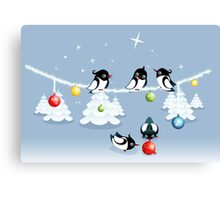 Funny Xmas Card - Birds and Bubbles in Snow Canvas Print