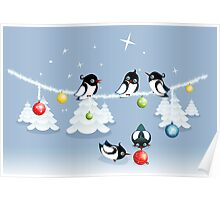 Funny Xmas Card - Birds and Bubbles in Snow Poster