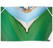 Moored fishing boat study reflection Poster