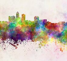 Des Moines skyline in watercolor background by paulrommer