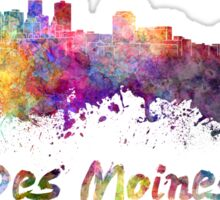 Des Moines skyline in watercolor Sticker