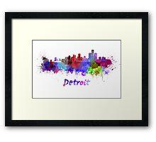 Detroit skyline in watercolor Framed Print