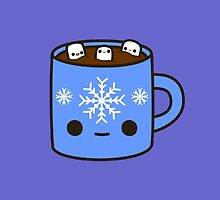 Mug of hot chocolate with cute marshmallows by peppermintpopuk
