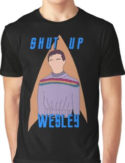 "Wesley Crusher - ""Shut Up Wesley"" - Star Trek the Next Generation Graphic T-Shirt"