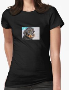 Female Rottweiler Puppy Making Eye Contact Womens Fitted T-Shirt