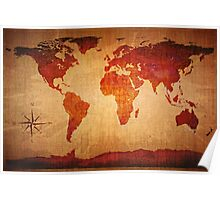 World Map Grunge Styled Poster