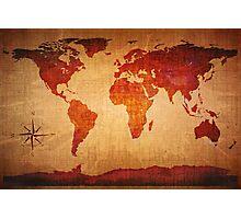 World Map Grunge Styled Photographic Print