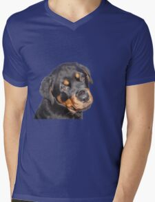Female Rottweiler Puppy Making Eye Contact Vector Isolated Mens V-Neck T-Shirt