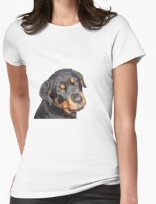 Female Rottweiler Puppy Making Eye Contact Vector Isolated Womens Fitted T-Shirt
