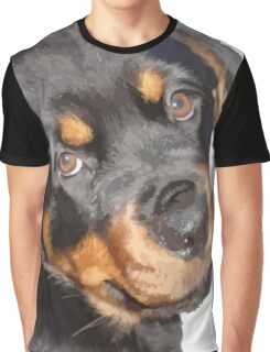 Female Rottweiler Puppy Making Eye Contact Vector Isolated Graphic T-Shirt