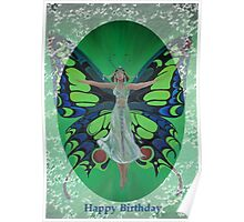 Art Deco Fantasy Fashion Happy Birthday Greetings Poster