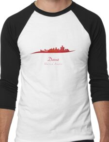 Detroit skyline in red Men's Baseball ¾ T-Shirt