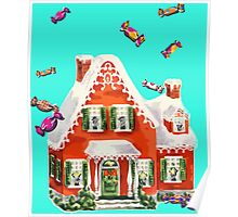 retro candy gingerbread house ugly Christmas Sweater Poster