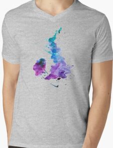 UK map in Watercolours Mens V-Neck T-Shirt
