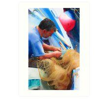 Mending the Nets Art Print
