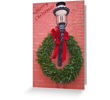 Merry Christmas Wreath and lantern card Greeting Card