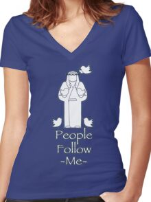 People Follow Me Women's Fitted V-Neck T-Shirt