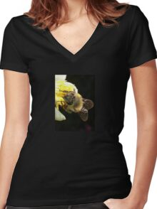 Honey Bee Pollinating Lemon Flower Close Up Women's Fitted V-Neck T-Shirt
