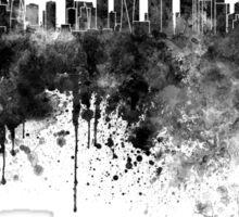 Doha skyline in black watercolor  Sticker