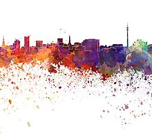 Dortmund skyline in watercolor background by paulrommer