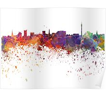 Dortmund skyline in watercolor background Poster