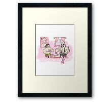 Muscly man tea-party Framed Print
