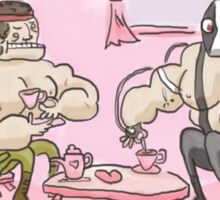 Muscly man tea-party Sticker