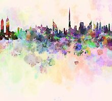 Dubai skyline in watercolor background by paulrommer
