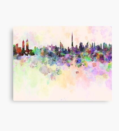 Dubai skyline in watercolor background Canvas Print