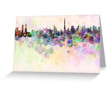 Dubai skyline in watercolor background Greeting Card