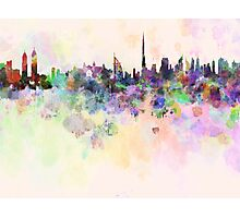 Dubai skyline in watercolor background Photographic Print