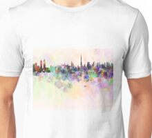 Dubai skyline in watercolor background Unisex T-Shirt