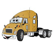 Semi Truck Cab Gold Photographic Print