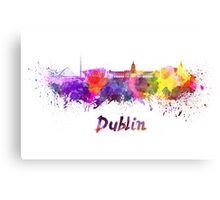 Dublin skyline in watercolor Canvas Print