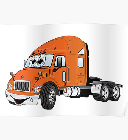 Semi Truck Cab Orange Poster