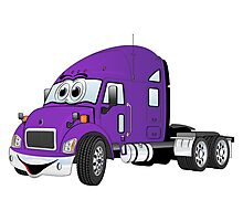 Semi Truck Cab Purple Photographic Print