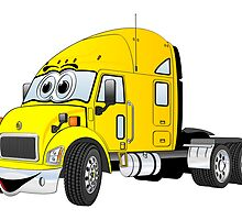 Semi Truck Cab Yellow by Graphxpro