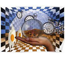 Salvador Dali dreams of fried eggs. Poster