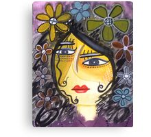 Face girl flower abstract Canvas Print