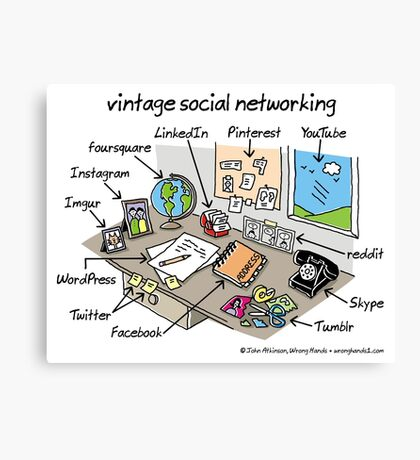 vintage social networking Canvas Print