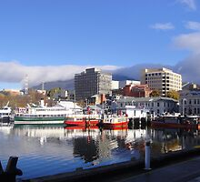 Ferries on Hobart Waterfront, Tasmania by Wendy Dyer