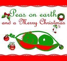Peas on earth Christmas card Merry Christmas by Cheryl Hall