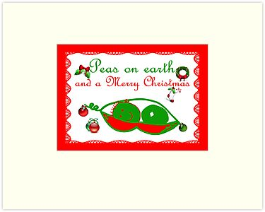 Peas on earth Christmas card Merry Christmas by Cheryl Hall