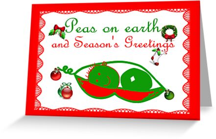 Peas on earth Christmas card Season's Greetings by Cheryl Hall