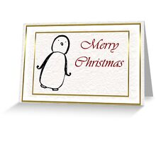 Merry Christmas happy holidays card with penguin and snow Greeting Card