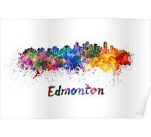 Edmonton skyline in watercolor Poster