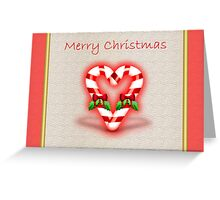 Merry Christmas with candy cane Greeting Card