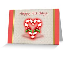 Merry Christmas Happy holidays with candy cane Greeting Card